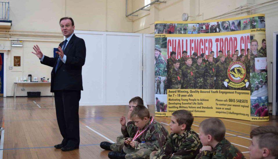 Roger Gough speaking at Challenger Troop